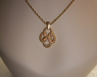 Trifari Rope Necklace & Pendant Yellow Gold Finish, by Nanas Vinage Shop on Etsy