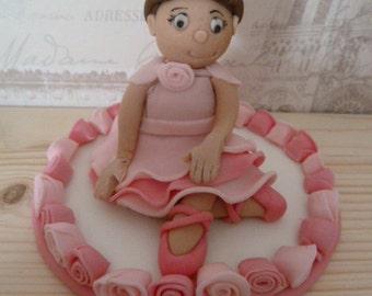 Edible sugar paste little ballerina girl cake topper, cake decoration,girl,ballet