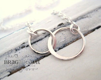 Double Circle Charm Necklace .  Infinity Style Necklace . Dainty Layering Necklace . Brag About It
