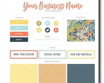 Blog marque Kit, Kit de Blog, image de marque Kit, Kit de Blogger, boutons sociaux, page d'accueil de Tabs, modèles, Blog Design Kit, Blog graphique, vert pomme