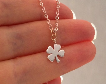 Rose gold four leaf clover necklace, rose gold necklace, small rose gold shamrock necklace, lucky clover charm necklace, jewellery, jewelry
