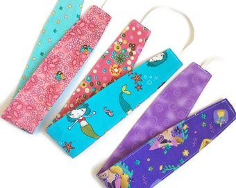 Pink purple aqua set of 3 child reversible headbands, bulk headbands, baby hair wrap, toddler headband, girl party favors gift cotton fabric