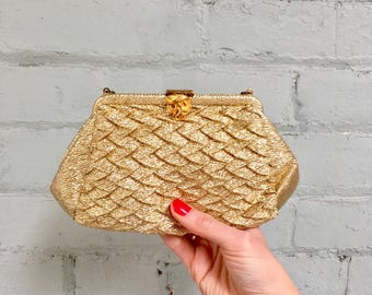1950s gold lame clutch / 50s gold evening bag / 1950s shiny gold bag