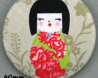 Fabric covered button - Kokeshi - Japanese doll - 40mm-(40-01)