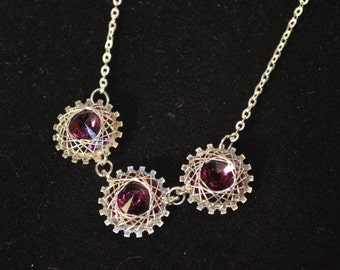 Necklace, sterling silver and purple swarovski crystal wire wrapped necklace
