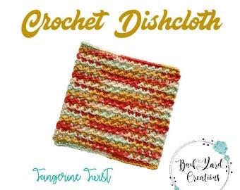 Tangerine Twist  Kitchen Dishcloth, Crochet Dishcloth, Washcloth, Texture Dishcloth, Ready to Ship