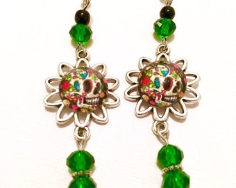 Sugar Skull Gladd Cabochon Earrings Day Of The Dead
