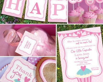 Cupcake Party Theme - Instantly Downloadable and Editable File - Personalize and Print at home with Adobe Reader