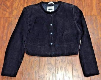 Vintage Retro 80s 90s Pelle Cuir Black Suede Leather Cropped Military Band Rock Jacket Womens Medium