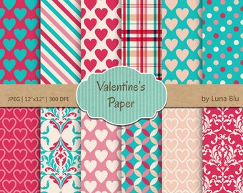 "Valentine Digital Paper: "" Valentine Paper"" turquoise, pink and peach love digital paper, valentine scrapbook paper"