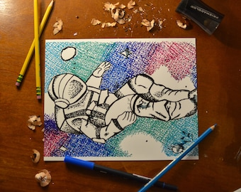 8x10 Falling Astronaut in Space Print