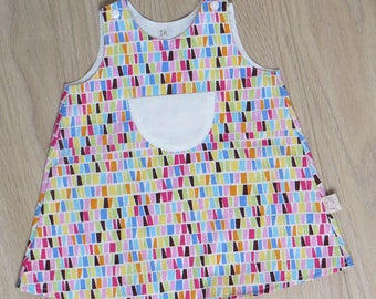 multicolored geometric print trapeze dress