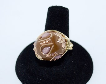 Fashion Ring, Earthy Colors , Wire Wrapped  in gold wire