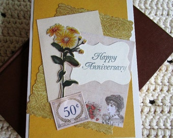 Golden Anniversary Card, Happy Anniversary, 50th Anniversary, Vintage Style, Gold and Tan, Yellow Flower, Red Rose, Layered Card