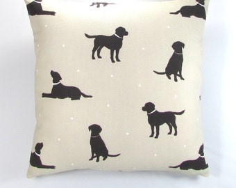 Black Labrador Fabric Cushion, Fabric, Cushion, Home Decor, Handmade, Fabric, Home, Home and Garden, Free Postage