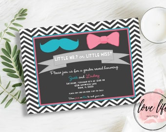 Gender Reveal Invitation | Blue Mustache and Pink Bow Gender Reveal Invitation | Team Pink and Team Blue Gender Reveal | Reveal Party