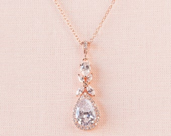 Rose Gold Bridal Necklace, Crystal Wedding Jewelry, Crystal Drop Bridal necklace Swarovski crystal Bridesmaids jewelry, Amielynn Necklace