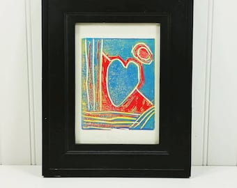Heart and Moon, Red and Blue Abstract Linocut Fine Art Print by Jason Hogan