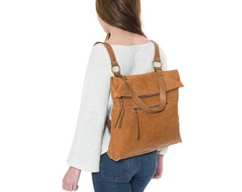 Women backpack, leather convertible backpack, leather backpack, laptop backpack, brown leather rucksack, school backpack, convertible bag
