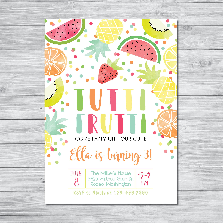 Tutti Frutti Birthday Invitation Tutti Frutti Party Summer