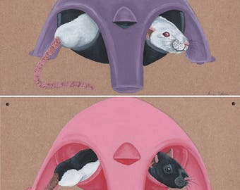 Just Chilling!  Wooden Rat Signage - Albino and Black Hooded Rat in Purple and Black/Pink Sputnik