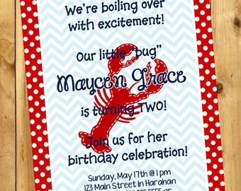 Crawfish Invitation, Lobster Invitation, Crawfish Boil Invitation, Crawfish Birthday Party, Digital Printable Invitation