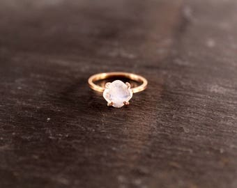 Rainbow Moonstone Cushion Cut Prong Setting Ring (Gold Sterling Silver Rose Gold June Birthstone Square Ring Mothers Day Gifts Under 50)
