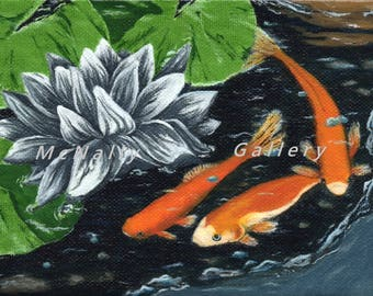 Printed cards of My three fishies oil painting. Fun cards blank inside for any of your own messages, or thank yous.