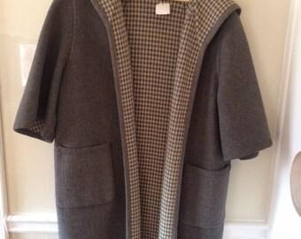 REVERSIBLE Vintage Houndstooth Wool Coat