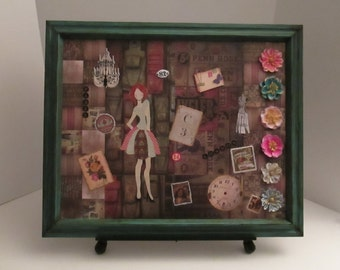 Green Wood Framed Collage Art on Canvass