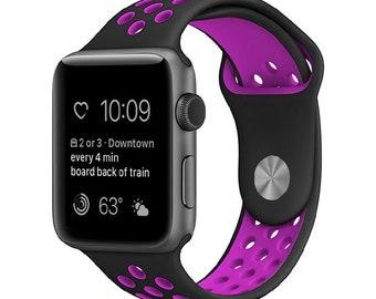 38MM Apple Watch/ iWatch Band  Silicone Sports Wristband Bracelet BLACK / PURPLE