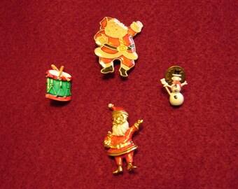 Vintage Christmas Lapel Pins Santa Sleigh Snowman Drum