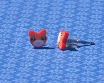 Teeny Tiny Red Kitty Stud Earrings
