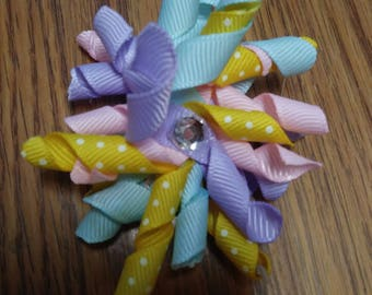 Easter korker bow With cute center on partially lined  alligator clip yellow pink blue purple