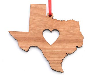 Heart Texas Christmas Ornament - TX State Shape Ornament with Christmas Heart Cutout - Texas Ornament Design by Heart State Shop