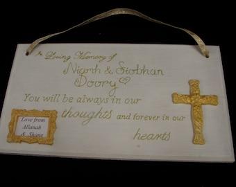Personalised Memorial Plaque In Loving Memory Sign
