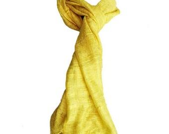 Scarf yellow vietnam silk scarf