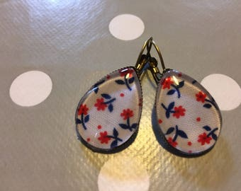 Drop earrings oval fabric fleui #4