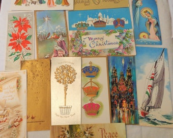 Holiday Wishes in Tall Modern Retro Greeting Cards in Vintage Christmas Lot No 1278 Glitter Too! Total of 14