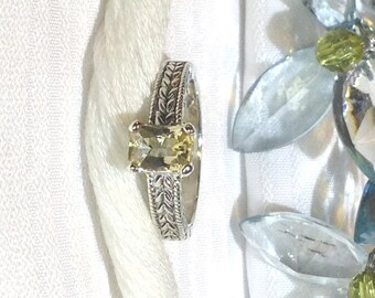 Sparkling Solitaire 0.68 Carat Scapolite Ring ~ 925 Sterling Silver ~ Size 6.75