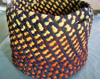 New Ready To Ship Large Sturdy Decorative Handmade Hand Braided Storage Basket from recycled fabrics