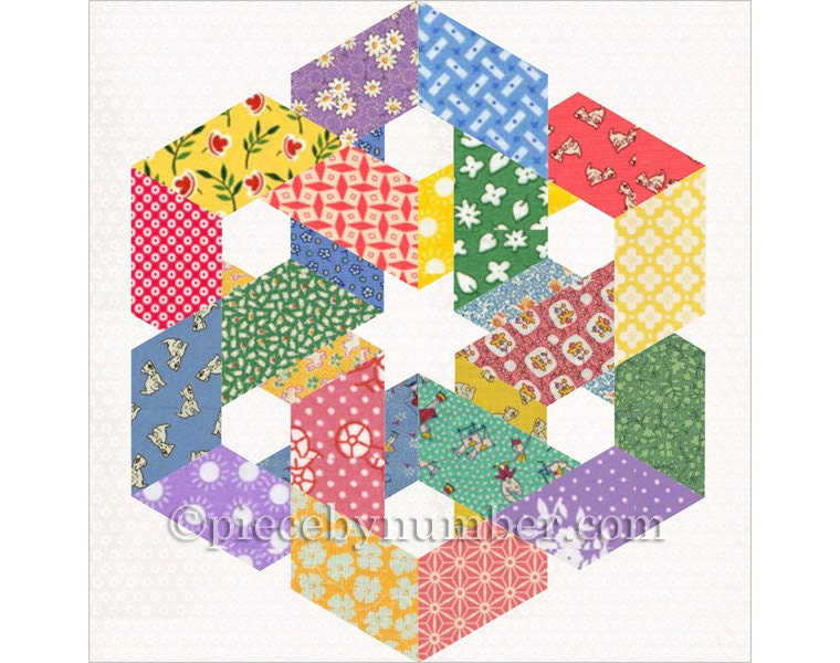 Hexagonia quilt block pattern paper pieced quilt pattern : geometric quilt patterns free - Adamdwight.com