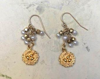 Gold Bird Nest Earrings