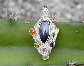 Voyage to Andromeda- Rainbow Obsidian Wire Pendant