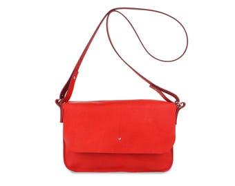 """Shoulder Bag """"Charlotte"""" Fraise Small leather bag"""
