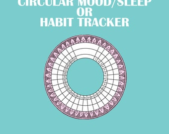 CIRCULAR TRACKER - Mood/Sleep/Habit - Printable png/pdf ONLY!