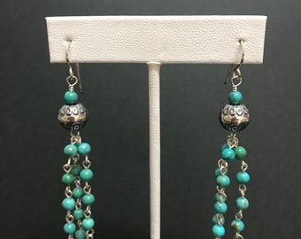 """Natural Genuine Turquoise Bead 925 Sterling Silver Earrings 2-7/8"""" Long"""