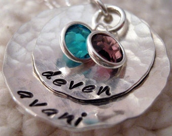 Hand Stamped Necklace - Mothers Bowl of Love - Mothers Necklace - birthstone necklace
