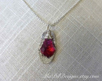 Ruby Baroque Swarovski Crystal Fine Silver Wire Wrapped Sterling Silver Oval Charm 925 Italian Chain 18 inches by MaDilDesigns