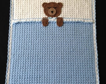 Crochet PATTERN - Teddy Bear Bedtime Blanket; Bear Baby Afghan Blanket; Bear Blanket Pattern; PDF Download